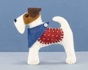 Fox terrier felt ornament