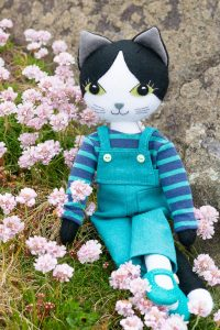 Puffin cat doll with sea pinks